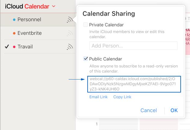 Synchronisation avec iCloud calendar